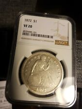1872 , $1 Seated Liberty, date below & not to above NGC VF20.Cert# 4929490101.