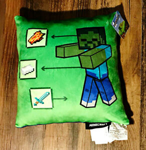 """Mine Craft Ultra Soft Character Pillow 13""""X12"""" New With Tags"""