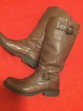 Misses Steve Madden Frencchh Buckle Brown Leather Boots Size 8M Awesome