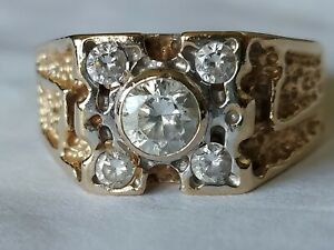 14K Solid Gold Nugget Mens Ring With 5 CZ Stones