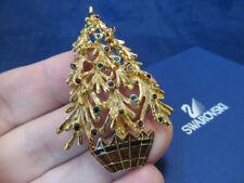 *Signed Swarovski Crystal Gold Tone & Enamel Christmas Tree Pin Brooch