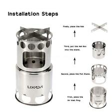 High Quality Portable Stainless Steel Wood Stove Outdoor Cooking Camping Burner