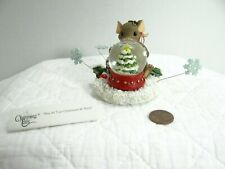 Charming Tails May All Your Christmases Be White Mouse Figure Snow Globe 87/133