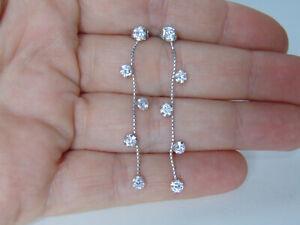 Italian 14k Solid White Gold Dangle Earrings CZ