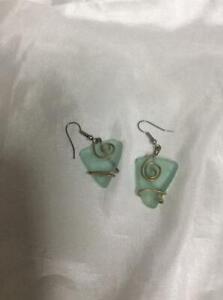 Light Aqua sea glass Earrings Hand made  Dangle earrings triangle shape