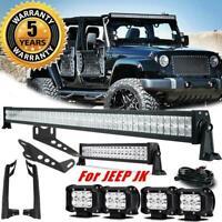 """52"""" LED Light Bar Combo 22"""" + Pods + Mount Bracket For Jeep Wrangler JK 07-18 50"""
