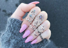 10Pcs Silver Ring Set Vintage Crystal Above Knuckle Stacking Band Midi Mid Ring