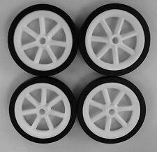 """4 X 105mm (4"""") de plástico blanco rueda de radios con neumáticos Negro"""