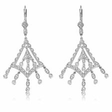 .60ct ROUND DIAMOND CHANDELIER DANGLING EARRINGS 14k WG