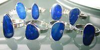 925 silver classic cabochon stone genuine Australian opal rings.