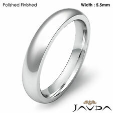 Wedding High Polish Band Platinum Men's Dome Comfort Fit Plain Ring 5.5mm 10.3gm