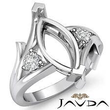 Splendid Ring 18k White Gold 0.2Ct Diamond 3 Stone Wedding Round Marquise Mount