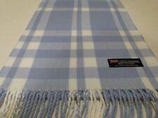 100% Cashmere Scarf 72X12 Light Blue White Scotland Wool Check Plaid Unisex K5