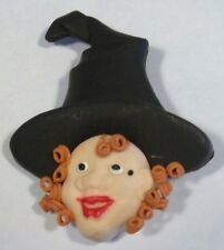 Halloween Brooch Pin With Witch Face Halloween Colors & Black Hat NEW