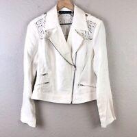 I.N.C International Concepts Women's M Linen Moto Zip Jacket Eyelet White