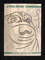 Star Wars Artist Sketch Card Jabba The Hutt 2008 1/1 Original Art Jason Hughes