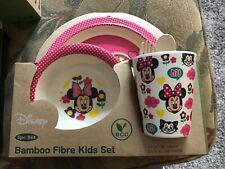 Disney 5 Piece Bamboo Fibre Kids Set Breakfast Lunch Dinner Set Bow Minnie NEW