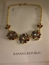 Banana Republic Flower Crystal Mutli Color Fan Statement Necklace NWT $89.50