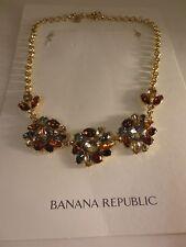 Banana Republic Flower Crystal Mutli Color Fan Statement Necklace NIP $89.50