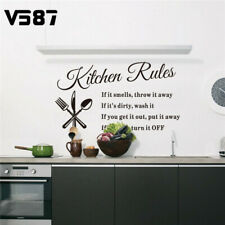 Kitchen Wall Stickers DIY 3D Removable Home Rules Quote Decor Vinyl Mural Decal