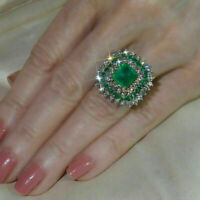 5 Ct Green Emerald & Diamond Engagement Cluster Ring 14K Yellow Gold Finish