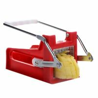 Stainless Steel French Fry Cutter Potato Vegetable Cutters 2 Blades, Red F8R1