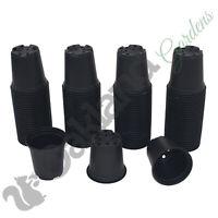 """100 X 9cm Plant Pots Black Plastic Tall Deep Full Size Flower Pot (3.5"""")"""