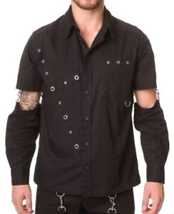 """Black Gothic Mens Shirt XL Punk Goth long sleeve Dead Threads 46"""" chest"""
