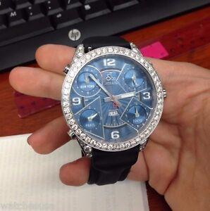 JACOB & CO MENS 47MM 9.00CT REAL DIAMONDS CASE CUSTOM SET BLUE FACE 5 TIME ZONES