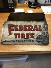 Vintage Metal FEDERAL Oil Tire Rack Gasoline Advertising Display Barnesville OH
