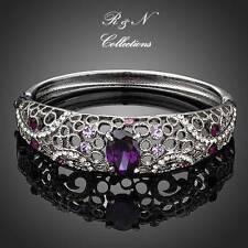Platinum Plated Made W/Swarovski Element Crystal Bangle Bracelet B560-30