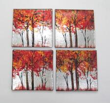 "Fall Forest Theme Glass Drink Coasters 4"" x 4"" Set of 4"