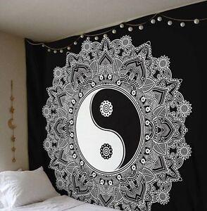 Large Yin Yang Mandala Tapestry Hippie Wall Hanging Black And White Throw Decor