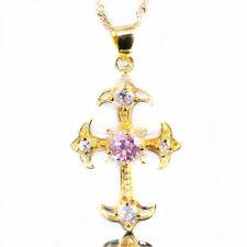 Lady Fashion Jewelry Gift Cross Cut Pink Sapphire Gold Tone Pendant Necklace