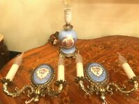 2 Wall Lamps Candlelabra & 1 Table Lamp Light Blue Porcelain Electric