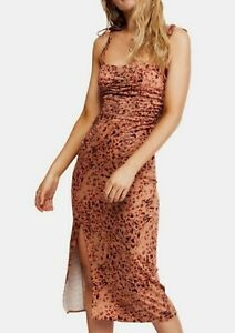 FREE PEOPLE SHOW STOPPER MIDI SUMMER DRESS Holiday Strappy Polka Beach S Uk 8 10