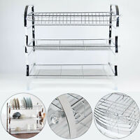3 Tier Steel Dish Drainer Plates Glass Cutlery Cups Rack Holder Drip Tray Fast