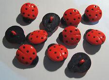 10 x Small Red & Black Ladybird Shape Shank Buttons 15mm Long (FA98)