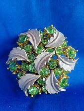 Vintage Light Green Rhinestone & Enamel Leaves Pin Brooch