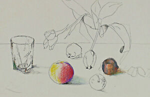 Monogrammed E ? - Still Life with Glass, Flowers And Fruits