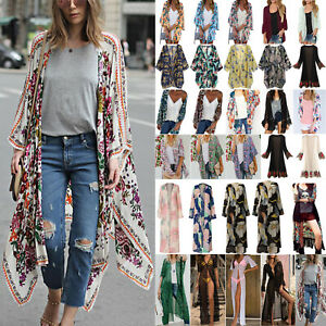 Women Boho Floral Kimono Cover Up Cardigan Lady Summer Holiday Beach Top Blouse