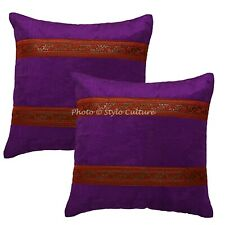 Ethnic Throw Pillow Covers Purple 40cm Brocade Jacquard Floral Cushion Covers