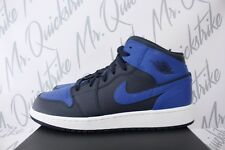 AIR JORDAN 1 MID GS SZ 7 Y YOUTH OBSIDIAN BLUE GAME ROYAL WHITE 554725 412