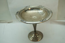 INTERNATIONAL STERLING SPRING GLORY PATTERN WEIGHTED SILVER COMPOTE T197 305 GR