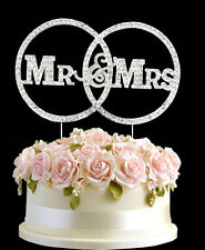Diamante Rhinestone Gem Cake Birthdays Anniversary Silver MR&MRS Infinite Topper