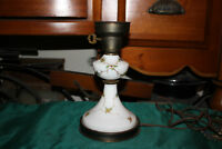 Vintage Boudoir Table Nightstand Lamp White Glass Painted Flowers Small Lamp