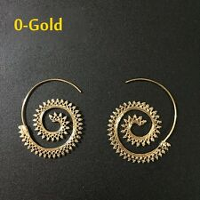 New Vintage Womens Lady Circles Round Spiral Brass Tribal Hoop Earrings Jewelry
