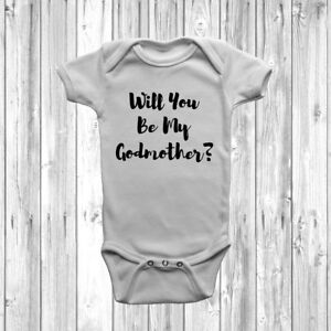 Will You Be My Godmother? Baby Grow Body Suit Vest Christening Cute Unisex