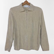Alfred Dunner Soft Chenille Velour Cream Zip Cardigan Cable Knit Sweater Size XL