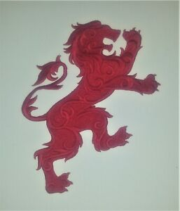 XL Heraldic Lion Embroidered Motif/Applique/Patch 22cm High, Many Colour Choices